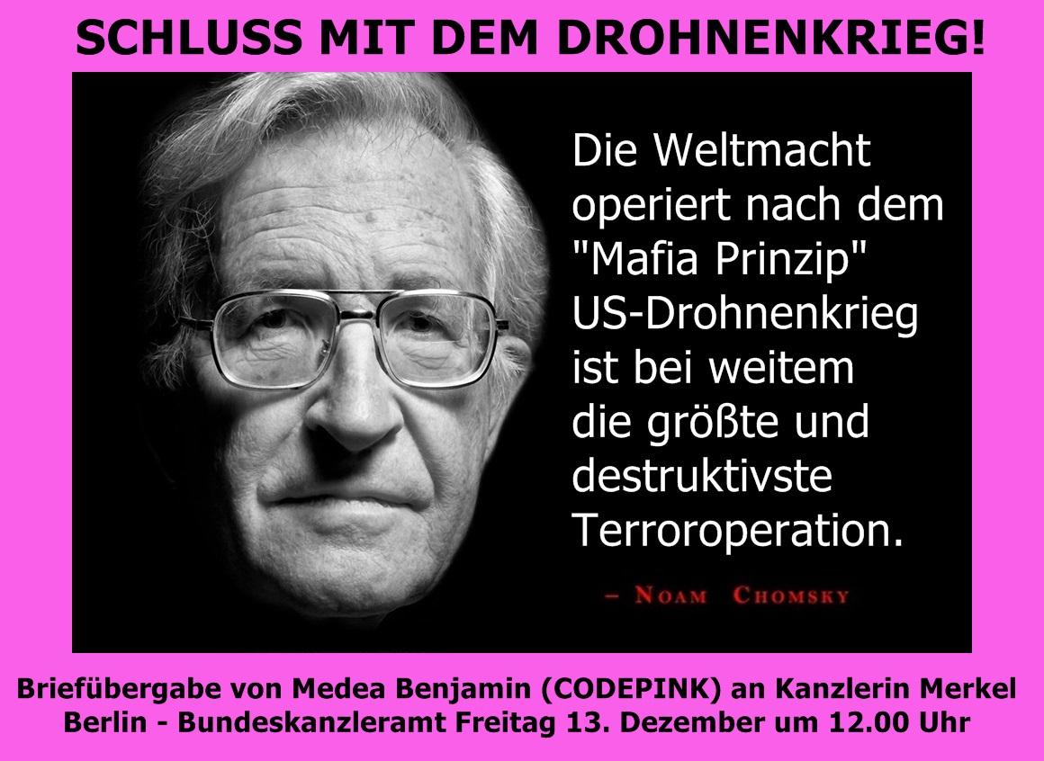 Fr. 13.12. - Briefübergabe von Medea Benjamin CODEPINK an Kanzlerin Merkel