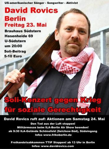 Europa Tournee 2014 - US-Singer-Songwriter u. politischer Aktivist - 23/24 Mai Berlin